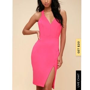 NWOT neon pink dress